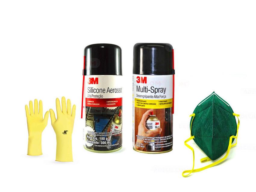 KIT Silicone Spray 3M + Multi Spray 3M + KIT EPI - 3M Autorizado    ADECIL.COM e4f9fce276