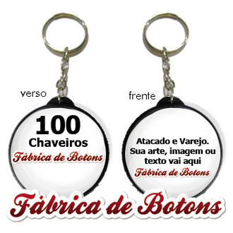 Kit 100 Chaveiros Personalizados Dupla Face: 25mm, 35mm, 45mm