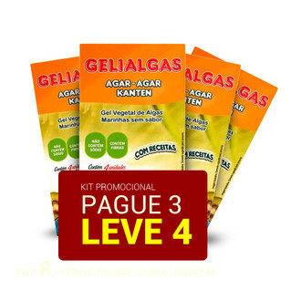Kit Ágar-ágar - Gelatina vegetal - Pague 3, Leve 4