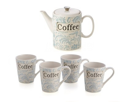 Conjunto de Bule e Canecas Coffe Light Blue