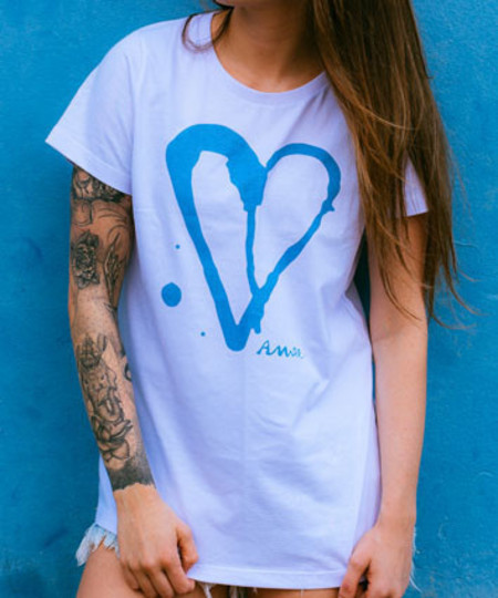 T SHIRT BASICO ACID HEART BRANCO