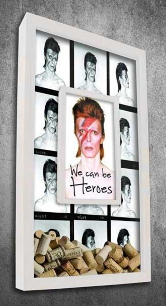 Quadro Duplo Porta Rolhas - We can be Heroes - David Bowie