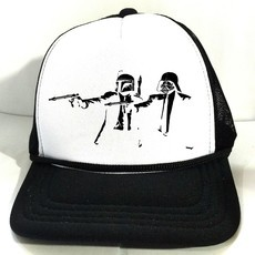 Boné BANKSY STAR WARS PULP FICTION Trucker Branco e Preto