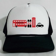 Boné Trucker I Love London City England Inglaterra Branco e Preto