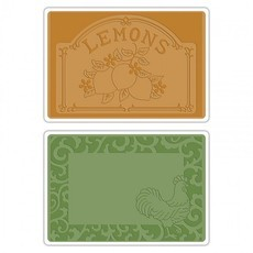EMBOSSING FOLDER SIZZIX - ROOSTER FRAME & LEMON LABEL SET