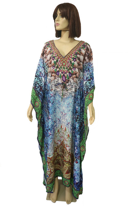 Kaftan Longo Digital - Vestido Indiano Estampa Digital Azul Claro