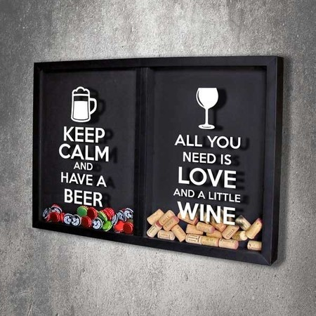 Quadro Misto para Rolhas e Tampinhas - All You Need e Keep calm