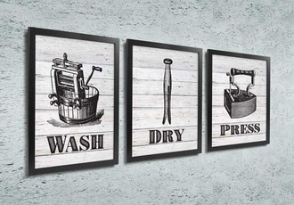 Quadros para Lavanderia - Wash, dry, press