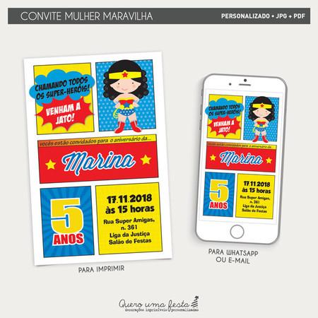 Convite Mulher Maravilha Arte Digital