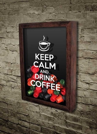Quadro Porta Cápsulas de Café - Keep calm and drink coffee