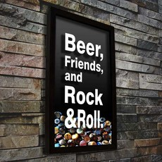 Quadro Porta Tampinhas - Beer, Friends & Rock'n'Roll