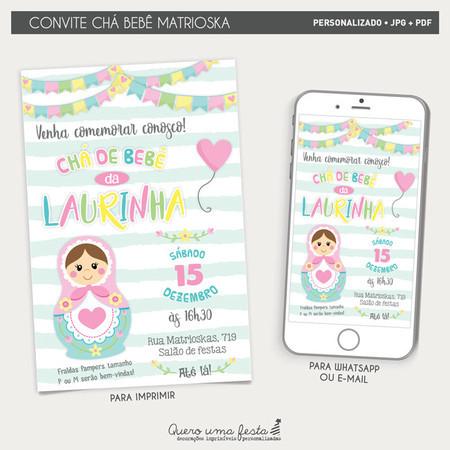 Convite Cha De Bebe Matrioska Digital E Para Imprimir