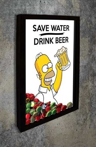 Quadro Porta Tampinhas - Homer - Save Water Drink Beer