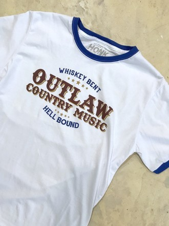 T-Shirt Ringer Outlaw Country | Branca + Azul