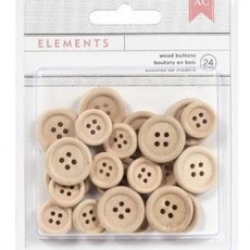 AMERICAN CRAFTS - ELEMENTS - WOOD BUTTONS - BOTÕES DE MADEIRA