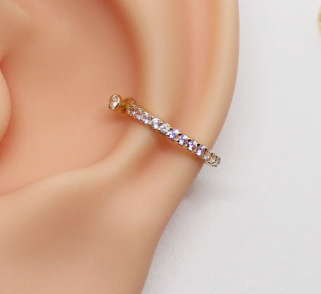 Piercing Conch Ouro 18k com Fileira Zircônias