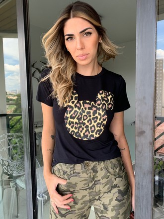 T shirt Mickey Animal print (preta e off)