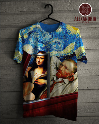 Camiseta Mona Lisa and Van Gogh