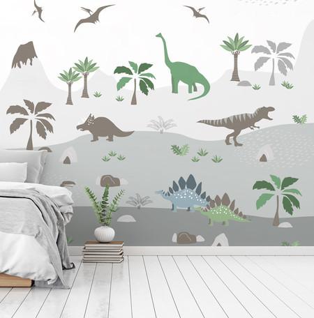 Papel de parede decoraçao quarto dinossauro loja Demaiz