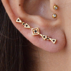 Brincos Ear Cuff Minimalisty Black