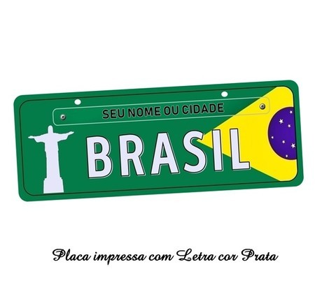 Placa de Carro Decorativa do Brasil