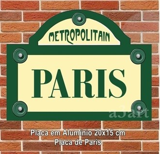 Placa de Rua Metro de Paris Metropolitain