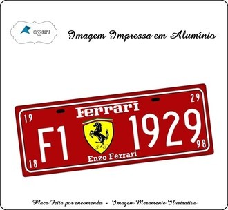 Placa de Carro Decorativa Ferrari Vermelha