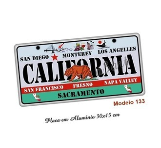 Placa de Carro Decorativa em MDF California