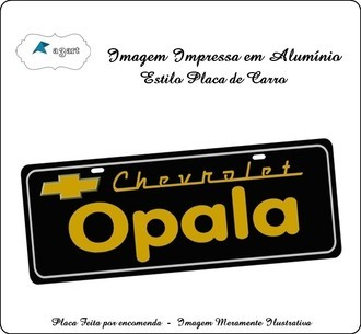 Placa de carro Decorativa da Chevrolet Opala