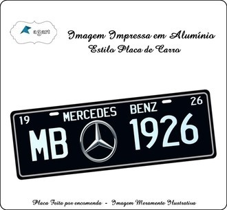 Placa de carro Decorativa da Mercedes Bens