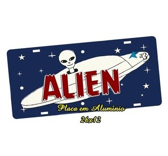Placa de Carro Decorativa Alien