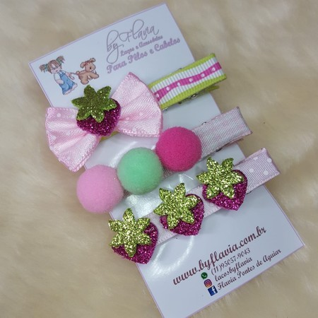 Hair Clips - Trio Moranguinho