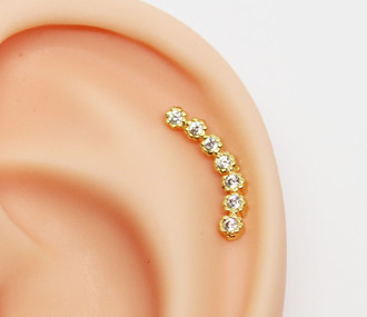 Piercing Cluster Rounded Folheado a Ouro