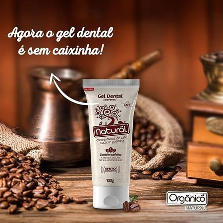 Gel Dental Natural CAFÉ c/ extratos de café, cacau e guaraná (100g)