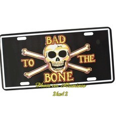 Placa de Carro Decorativa Bad Bone