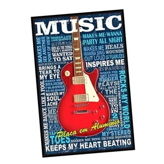 Placa Poster Quadro Decorativa Music