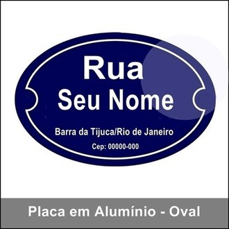 Placa de Rua Oval Decorativa Personalizável
