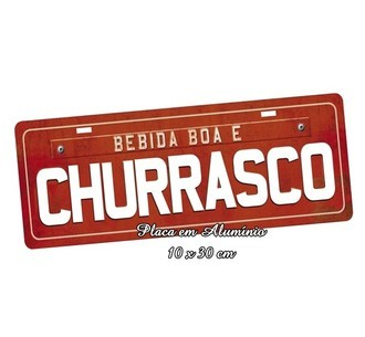 Placa de Carro Decorativa Bebida Boa e Churrasco