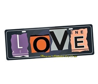 Placa de Carro Decorativa Love