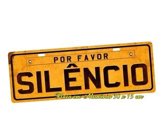 Placa de Carro Decorativa Por Favor Silencio