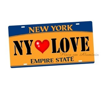 Placa de Carro Decorativa NY LOVE