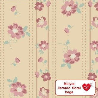 "tecido Millyta ""Little Dream"" - listrado floral bege"