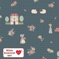 "tecido Millyta ""Little Dream"" - cena Sunbonnet azul"