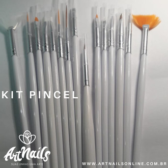 Kit De Pincel 15 Pincéis Unha Decorada Gel Acrigel