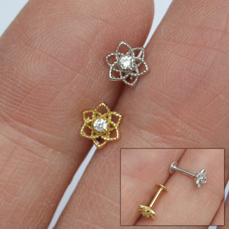 Piercing Flory Plug Ouro 18K