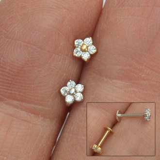 Piercing Flor Perfecta Plug Ouro 18K