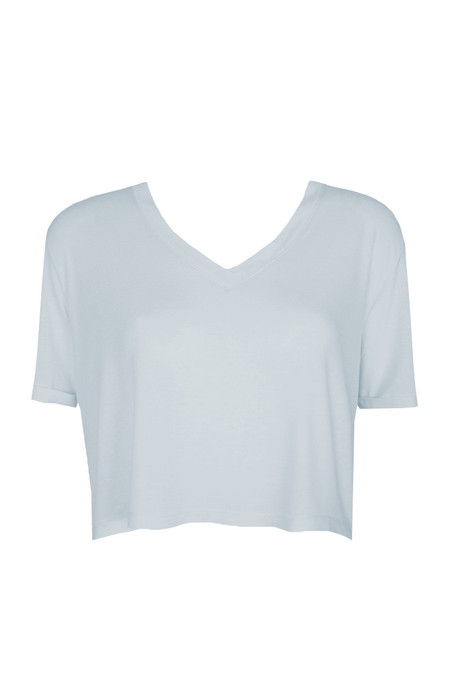 T-Shirt Cropped V Blue