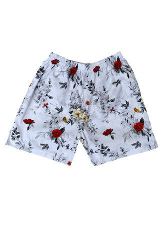 Shorts White Flowered