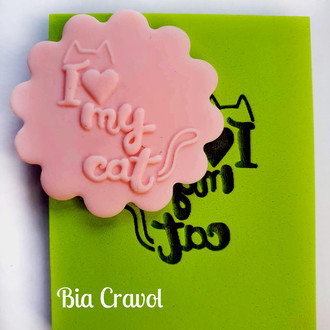 Textura de Frase Cd 67 - I love my cat - Emborrachado Especial