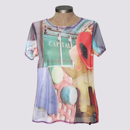 Blusa mg curta estampada tule - upcycle